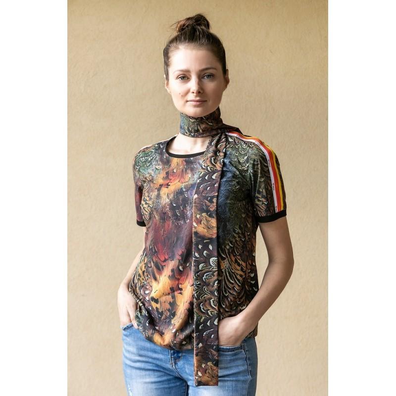 Bluzka Taurus Black Bird z apaszką